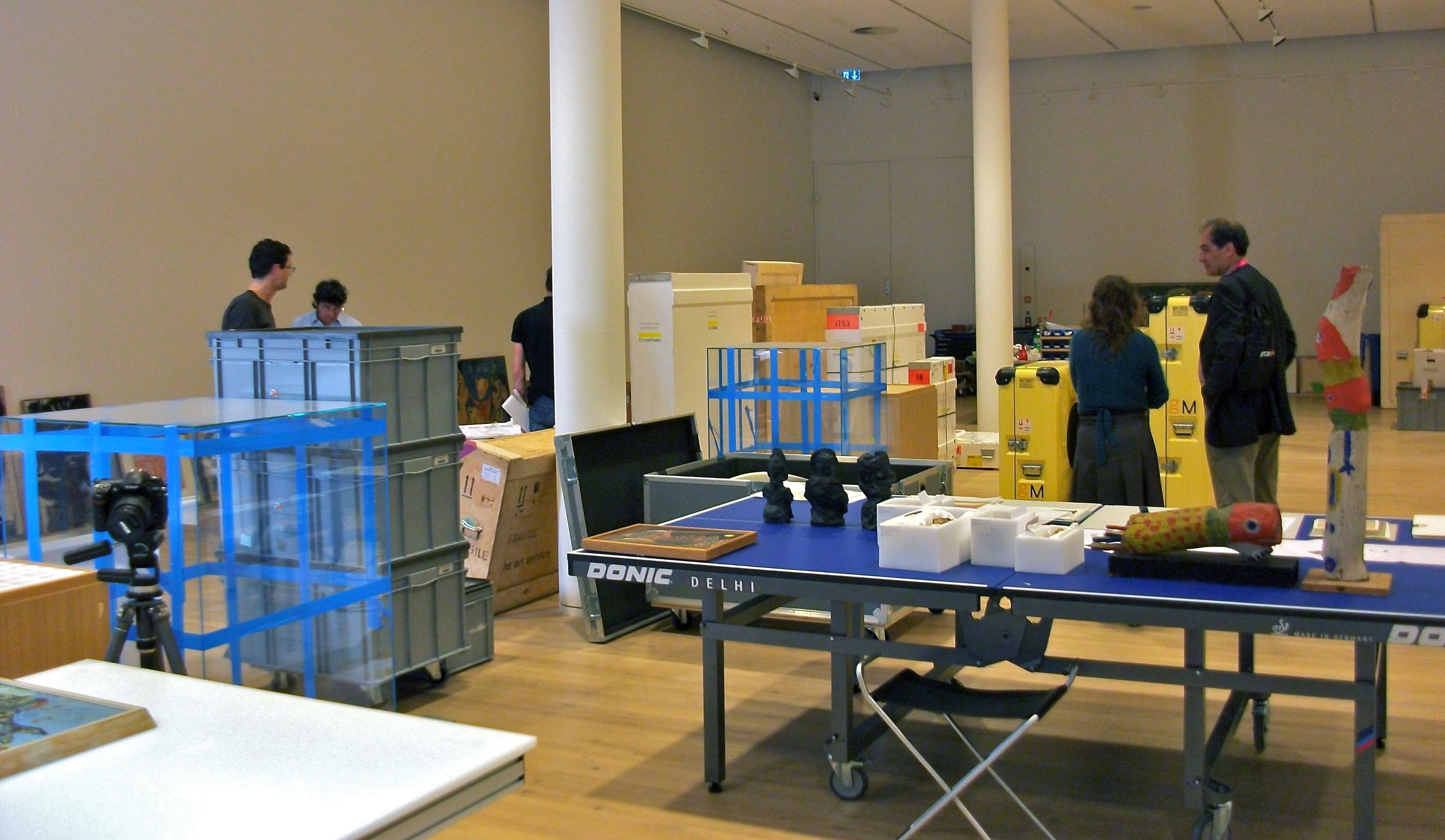 Exhibition installation, crates transit storage